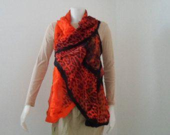 Nuno Felt Circle Vest in Orange Leopard Print Silk Chiffon -    Edit Listing  - Etsy
