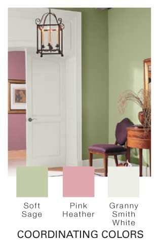 Glidden Paint Soft Sage Pink Heather And Granny Smith White