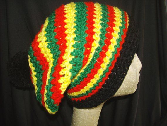 475aa8bf897 FREE Shipping Marley slouch beanie rasta crochet hat