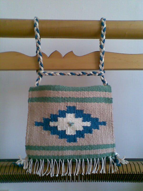 Weaving - Szőttes tarisznya, jade kővel díszítve - Weaved bag with jade - Zentai Anna - www.zentaianna.hu
