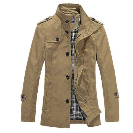 <> Allegra K Mens Long Sleeve Button Closure Autumn Trench Coat