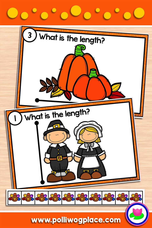 Measuring Length Thanksgiving Measurement Cards
