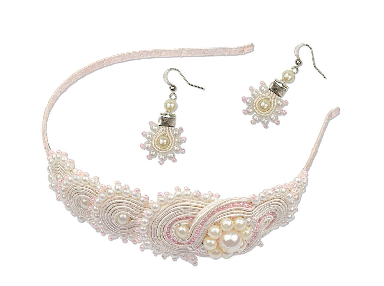 1445АС Soutache headband and earrings Sunrise of Pearls - Product description