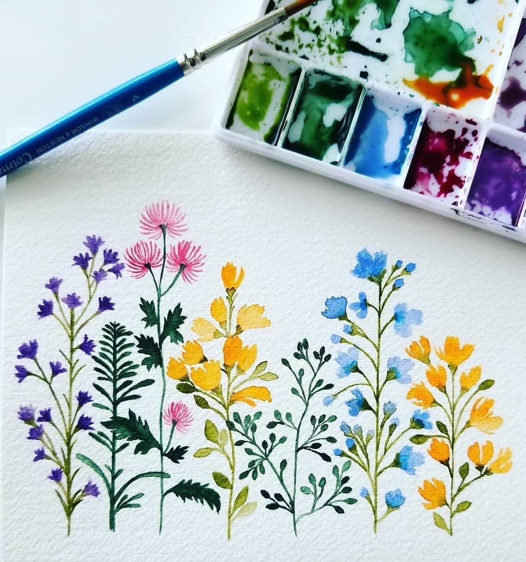 "TOP Watercolor Gallery on Instagram: ""Artist @ishajunedesigns - Spring #wildflowers"