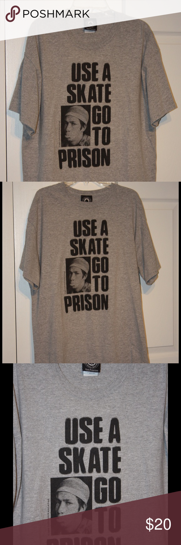 Men's skate tee. Thrasher brand men's short sleeve tee shirt. Use a skate, go to jail picture on front. Thrasher Shirts Tees - Short Sleeve