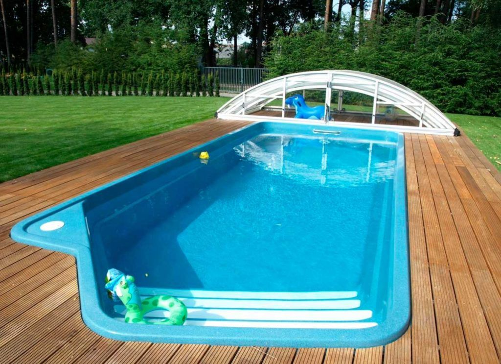 Fiberglass inground swimming pool kits with wooden flooring ...