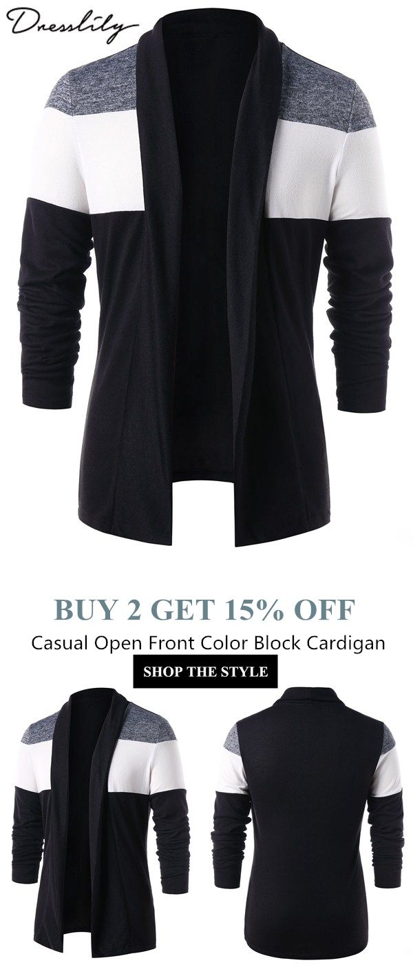Free shipping over  39. Casual Open Front Color Block Cardigan.  dresslily   cardigan 96a98719e50c