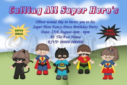 personalised super hero fancy dress birthday party invitations