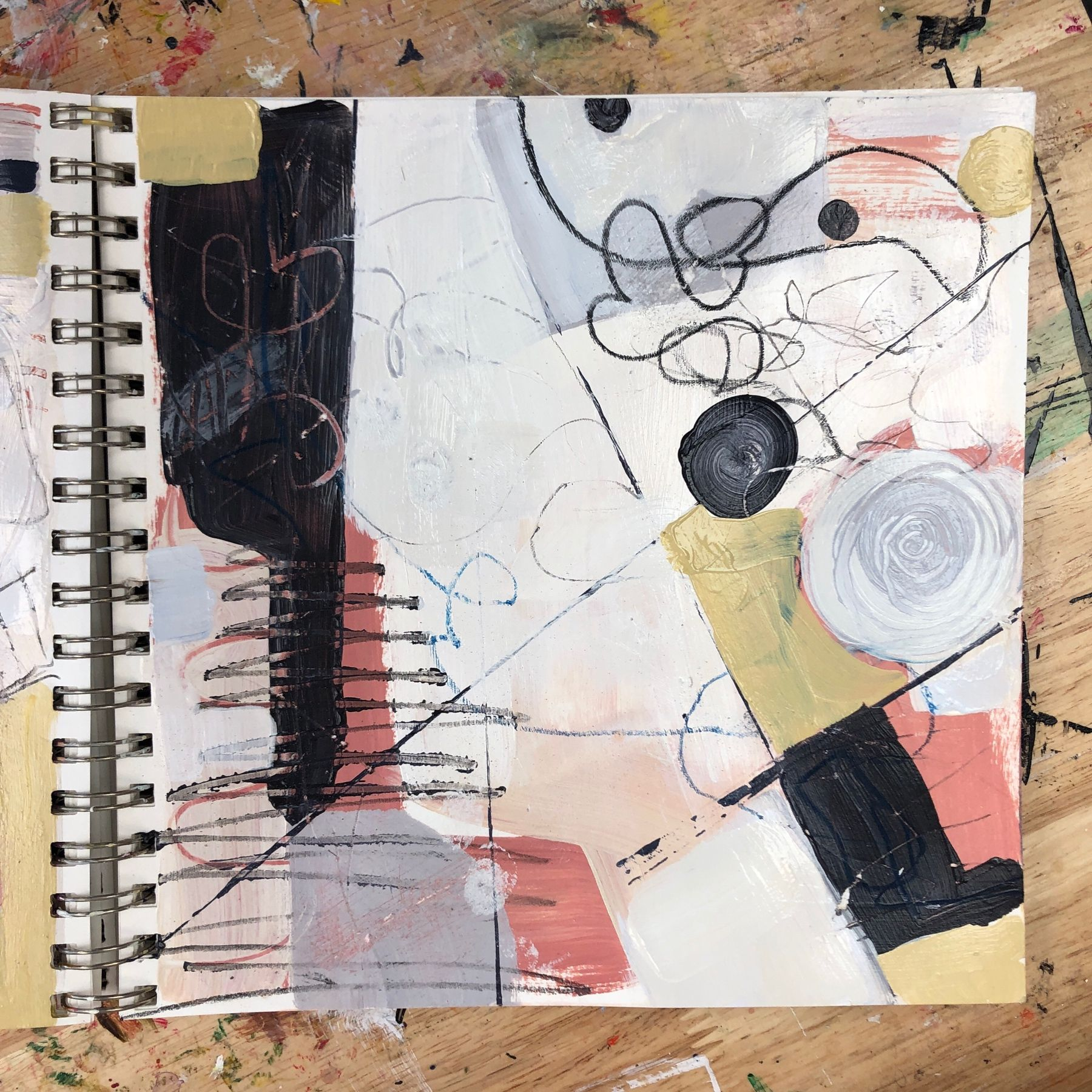 Sketchbook warmups! This is one of the pages that I worked on this morning using a limited palette and colours that I wouldn't normally choose. It took some loud music to get my juju onto the page today! What do you do to get ready to work? #trusttheprocess #yycartist #sketchbookwarmup #sketchbookpainting #sketchbook #sketchbookart #sketch #drawing #illustration #art #instaart #draw #artist #pencil #creative #artsy #artoftheday #instaartist #pen #doodle #paper #sketching #artwork #ink