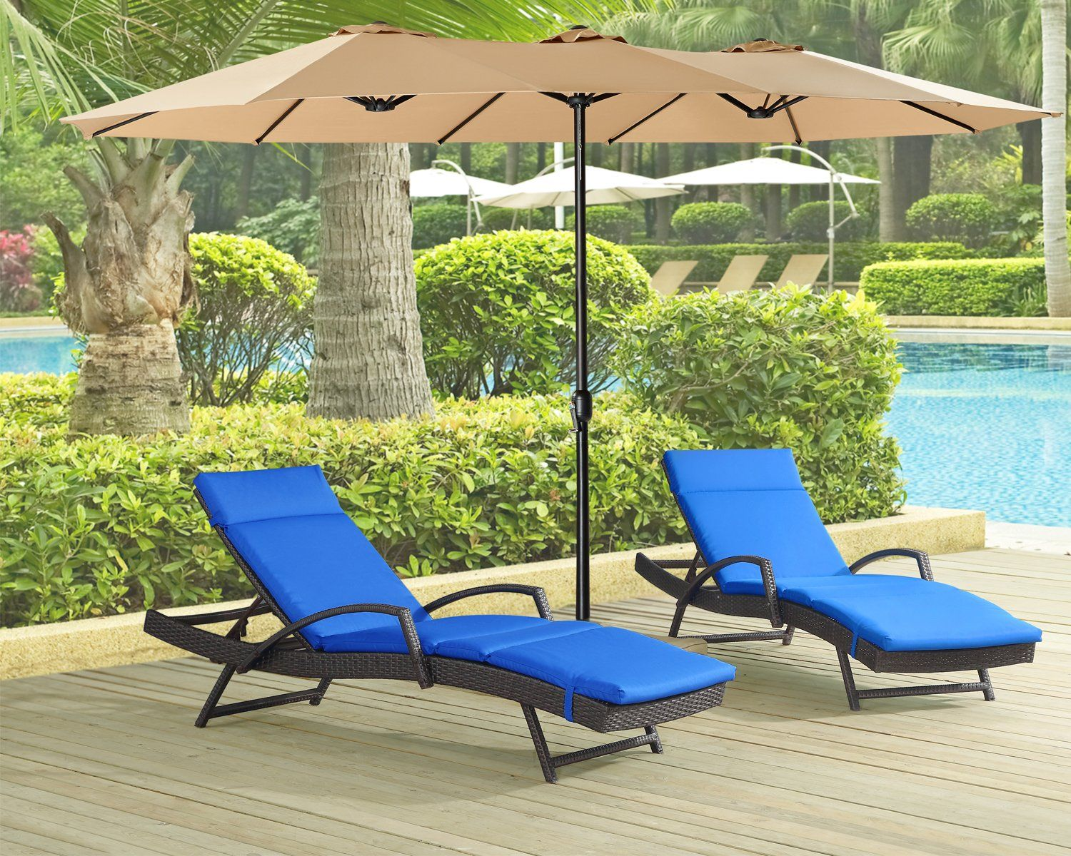 Iwicker outdoor adjustable pool wicker chaise lounge chair