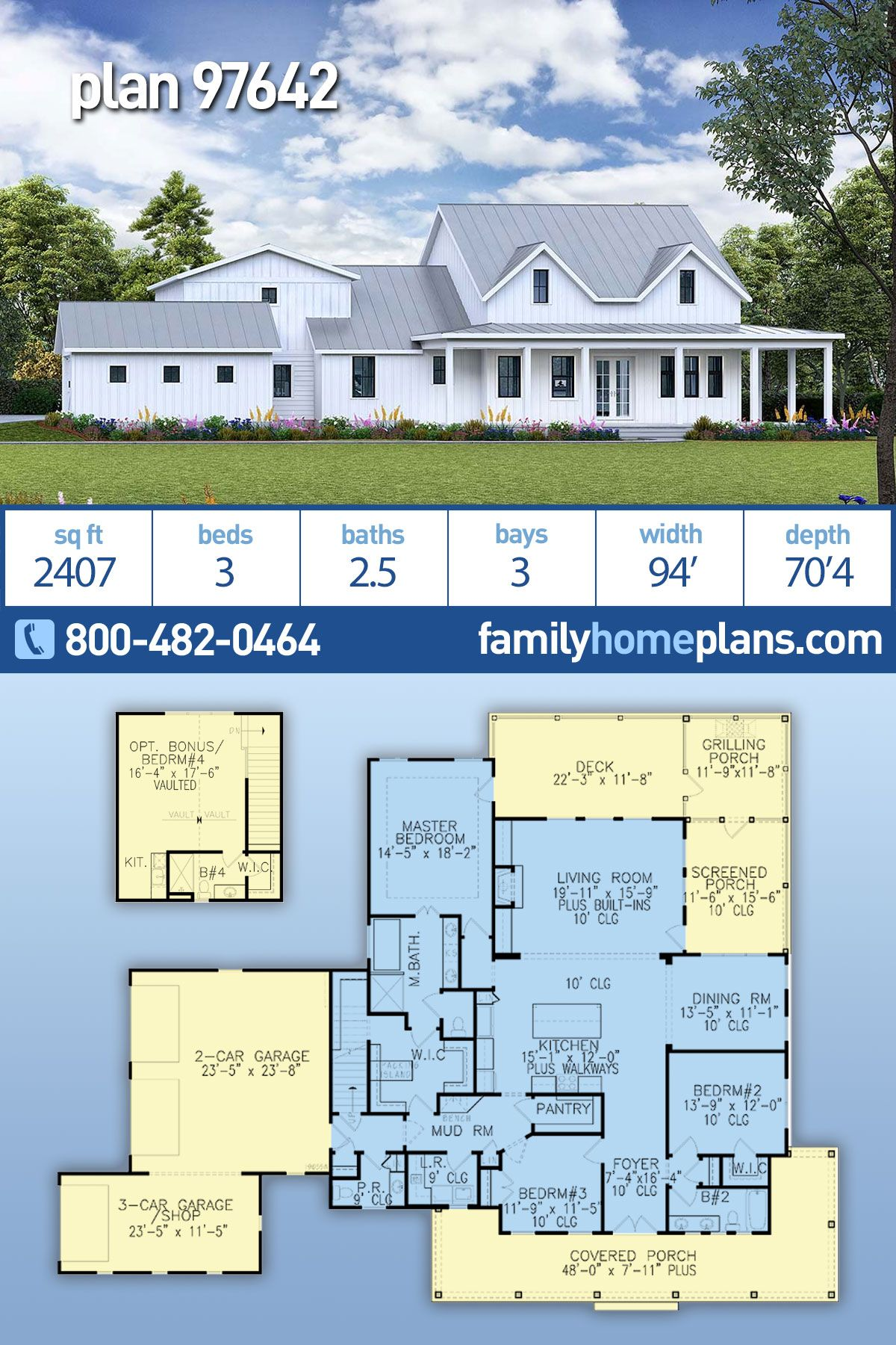 Southern Style House Plan 97642 With 3 Bed 3 Bath 3 Car Garage In 2020 House Plans Family House Plans Southern Style Home