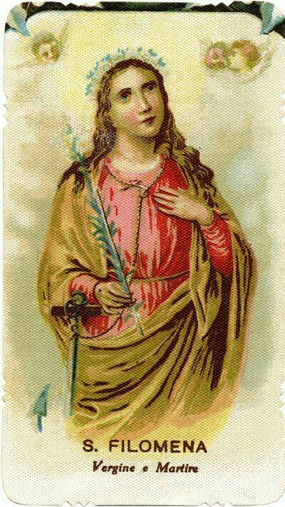 Santa Filomena Virgen y mártir ayudamos y ruega por la humanidad.
