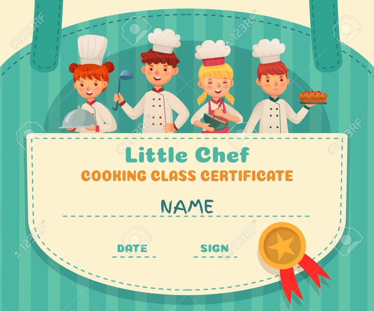 Little Chef Certificate Cooking Class Chefs Diploma Cooking Food School Lesson And Kids Cooks Frame Food Certi Little Chef Preschool Diploma Cooking Classes