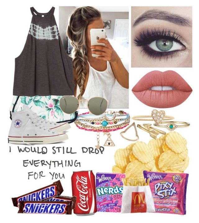 """i never want summer to end😁😭🌻"" by annapars7 on Polyvore featuring Miss Selfridge, Accessorize, GUESS, RVCA, Converse, Sydney Evan, Tuttle, Lime Crime, Jennifer Meyer Jewelry and Ray-Ban"