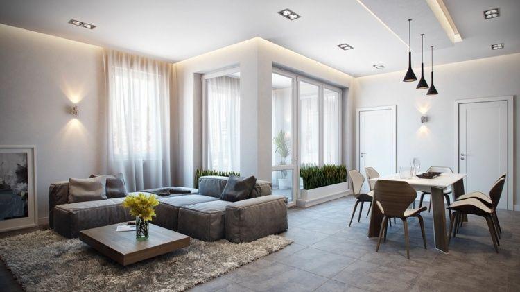 Monochromes, Modernes Wohnzimmer Mit Essbereich