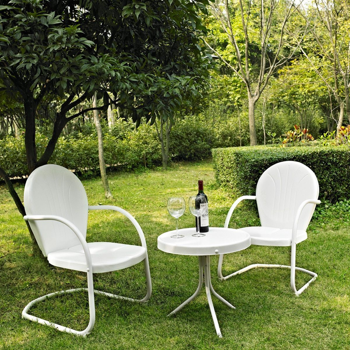 Crosley griffith white metal 3 piece outdoor conversation seating set with side table and 2 chairs white size 3 piece sets patio furniture steel