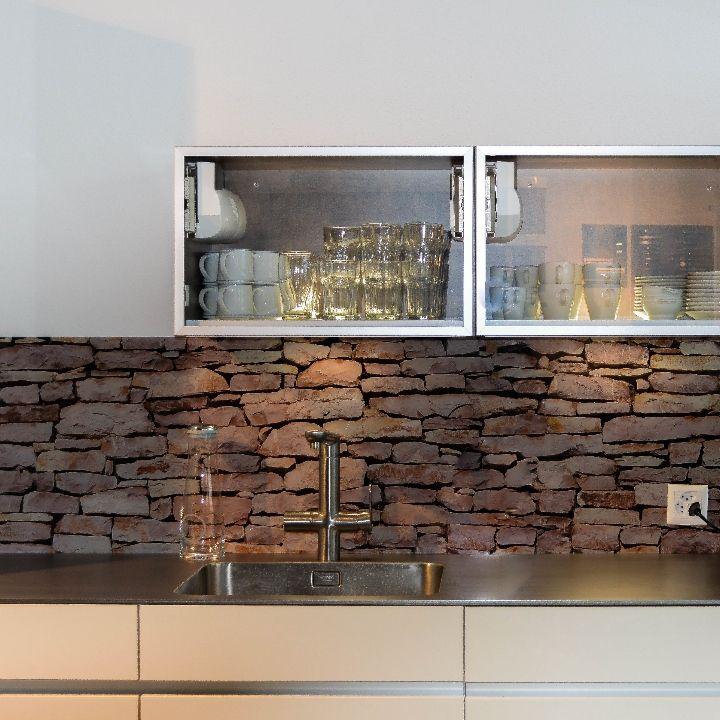 Kchenrckwand aus Glas bedruckt mit Motiv Steinmauer  Glas fr die Kche  Glasrckwand