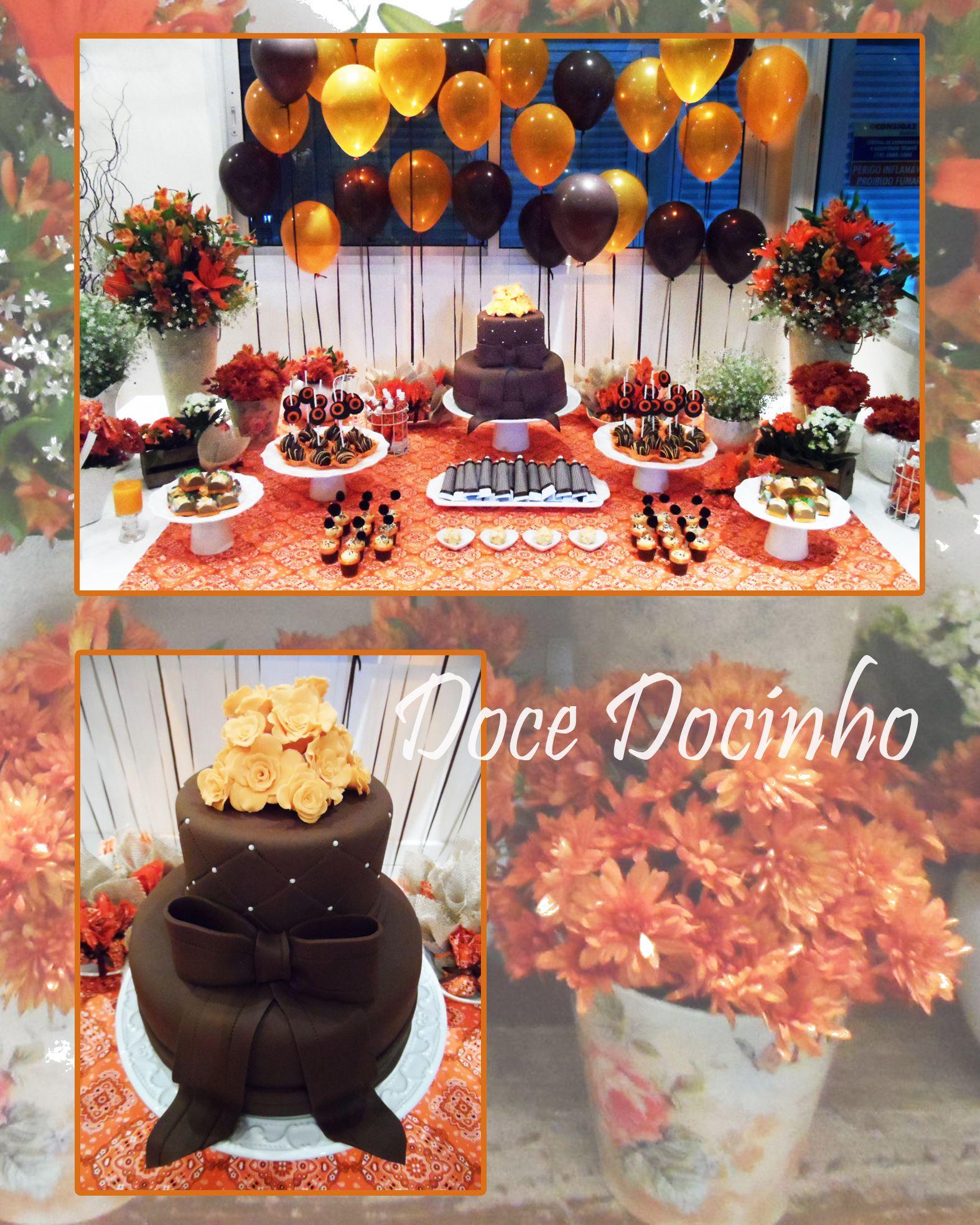 Muita cor, flores, balões e doces para uma festa de adulto.