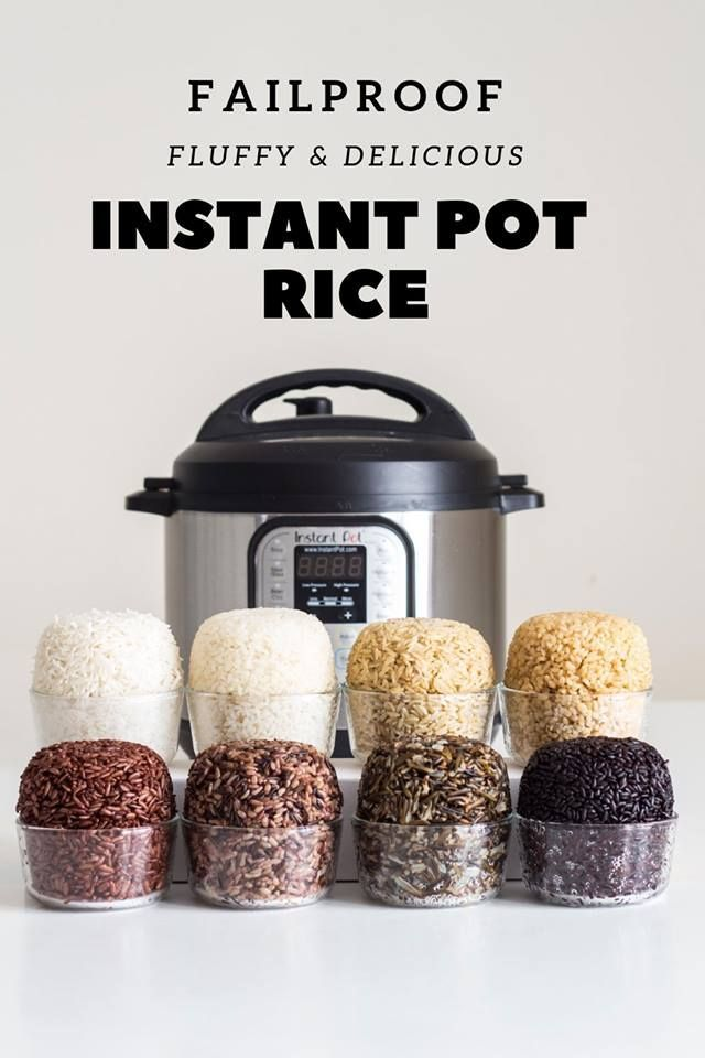 Pot Rice Instant pot rice is super easy to make if you know the right rice to water ratio and cooking time. This fail-proof guide covers in detail how to cook Basmati white rice, Basmati brown rice, short grain brown rice, wild rice blend, black rice, wild rice, red rice, and sushi rice to perfection! via @greenhealthycooInstant pot...