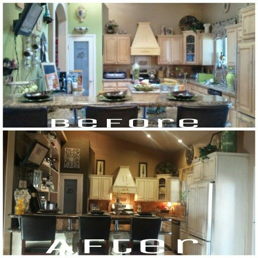 Painted and glazed cabinets plus chocolate walls kitchen redo#!!
