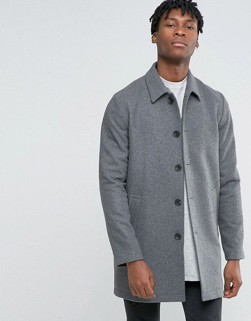 ASOS | ASOS Wool Mix Trench Coat In Light Grey Marl