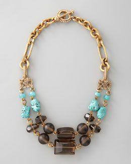 Y1H9U Stephen Dweck Turquoise & Smoky Quartz Necklace
