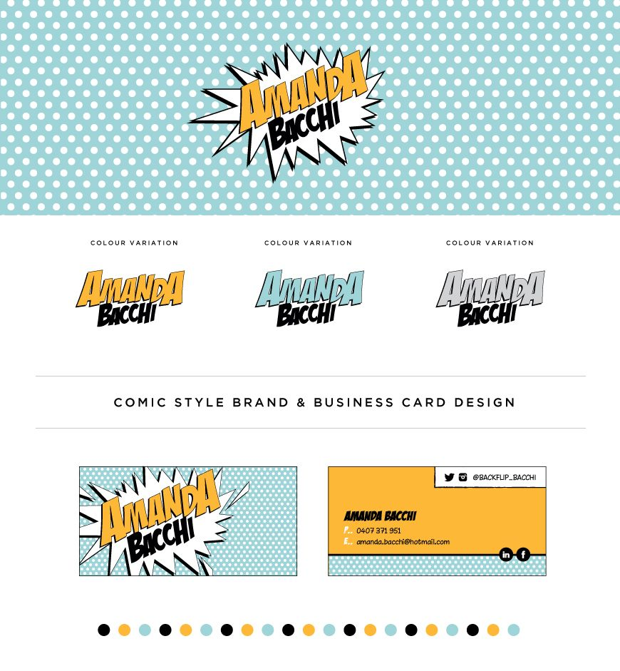 Comic Book Style Logo And Business Card Design By Erin Bacchi At Designs Http