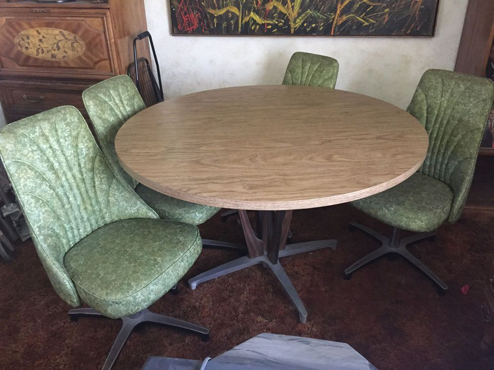 Vintage Chromcraft Table And 4 Chair Set Mid Century Antique 1968 Dining Set