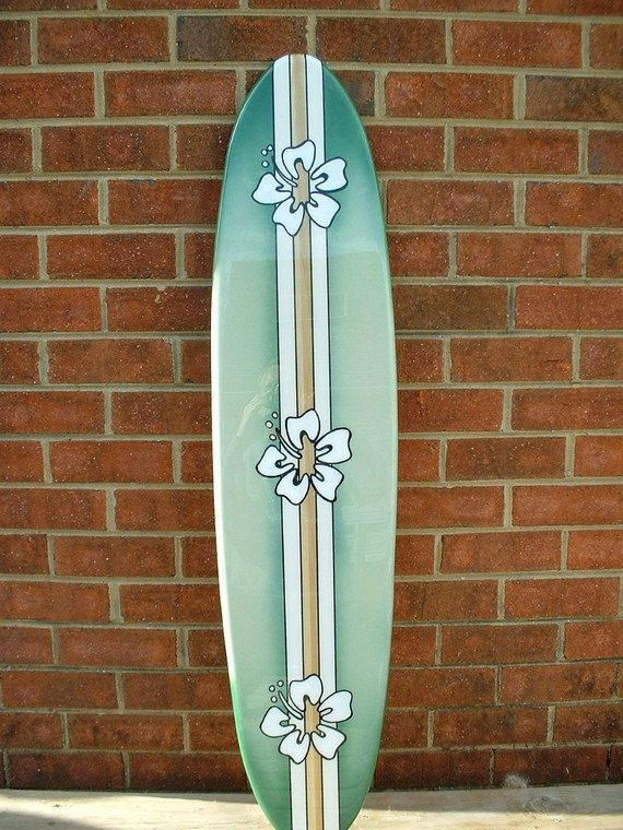 Surfboard wall art, surfboard wall hanging, four foot beach decor