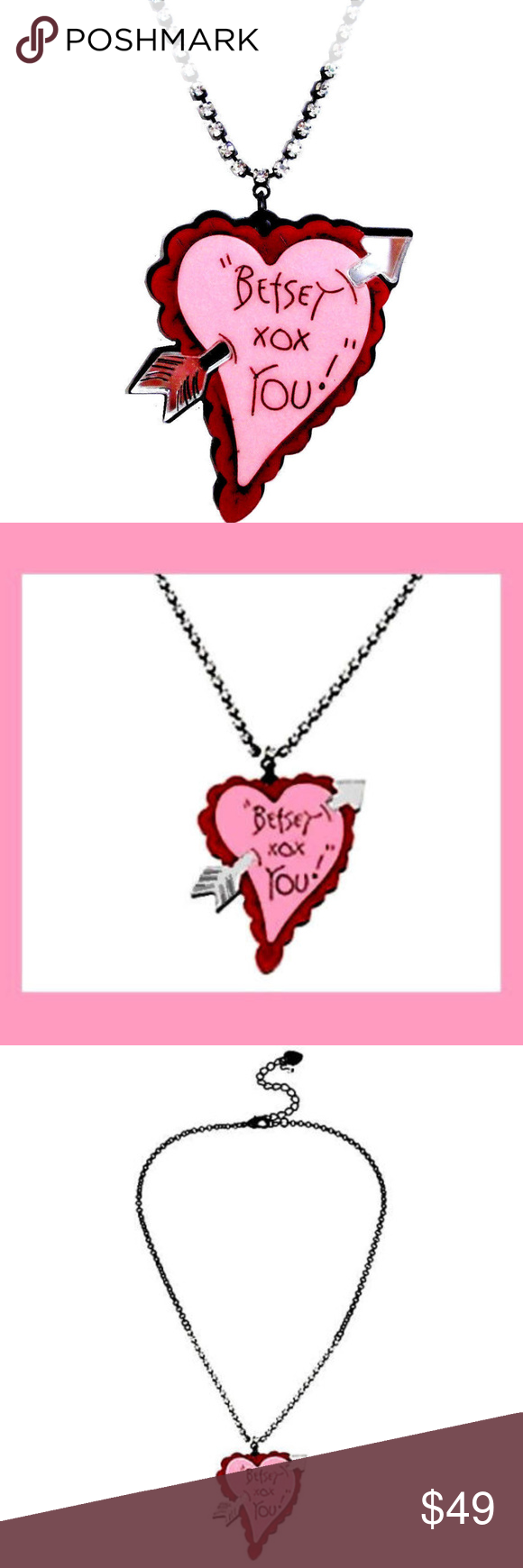 Crystal Chain Necklace Acrylic Heart Mirror Arrow Pink Heart Pendant Crystal Chain Arrow Pendant Necklace