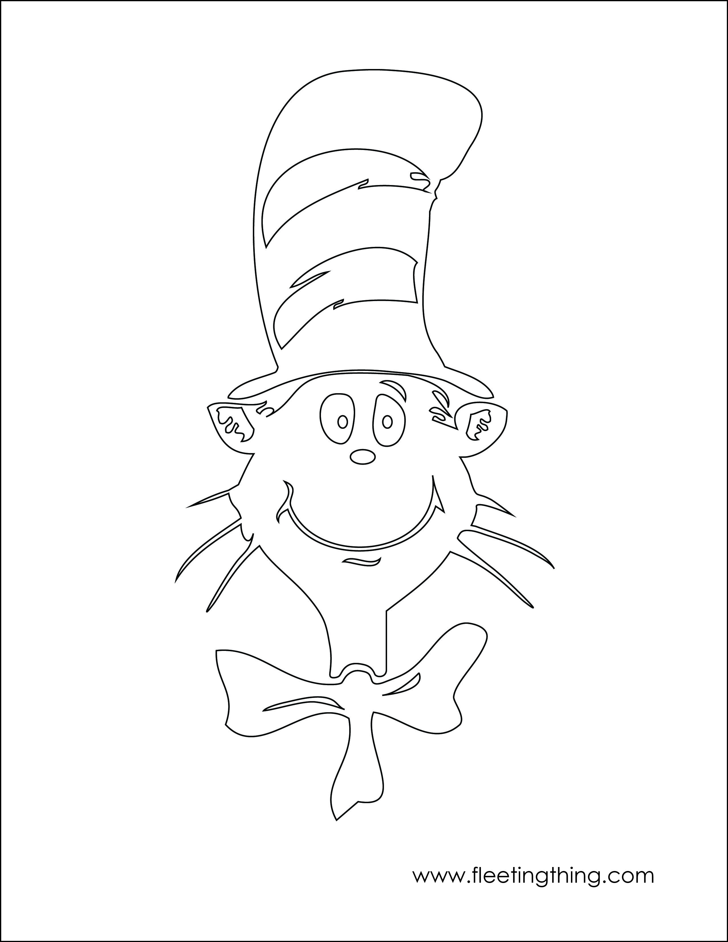 Cat In Hat Jpg 2554 3304 Dr Seuss Coloring Pages Happy Birthday Coloring Pages Birthday Coloring Pages