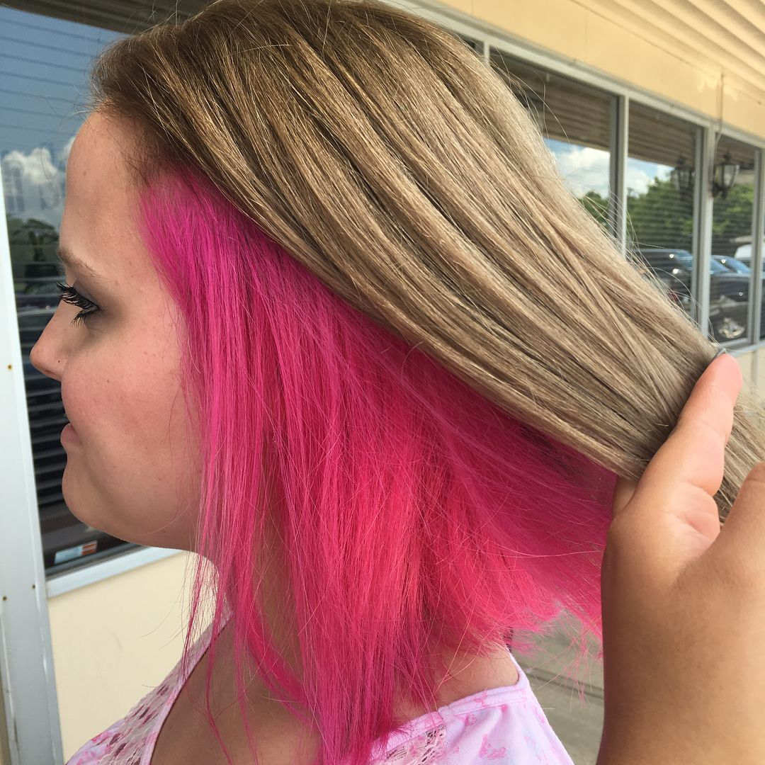 We Went From A All Over Blonde Color To Her Natural Light Brown Color With Some Fun Hot Pink Peek A Boo Hi Pink Blonde Hair Pink Hair Dye Hair Color Underneath