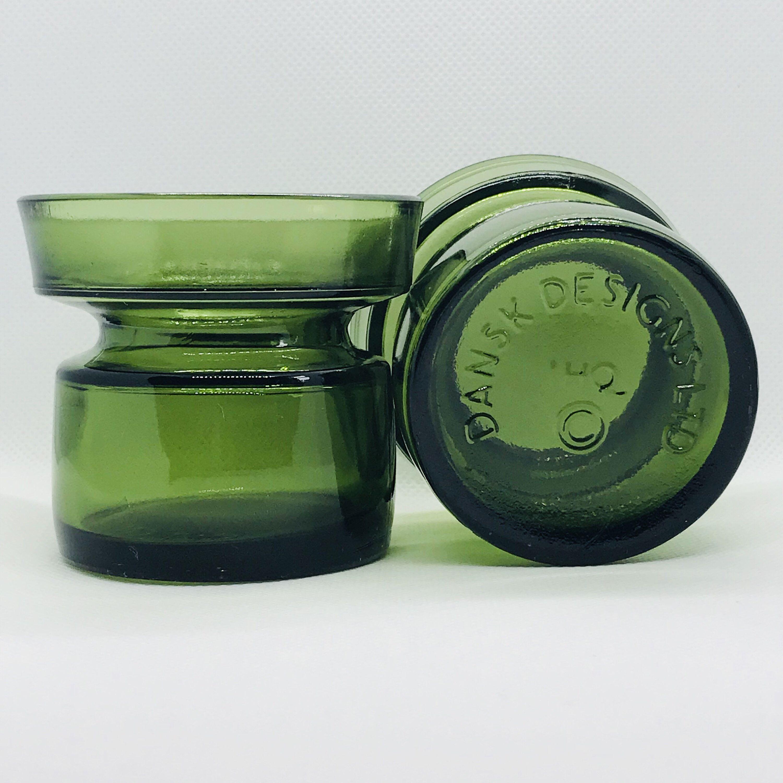 Pair Mid Century Olive Green Votive Dansk Designs