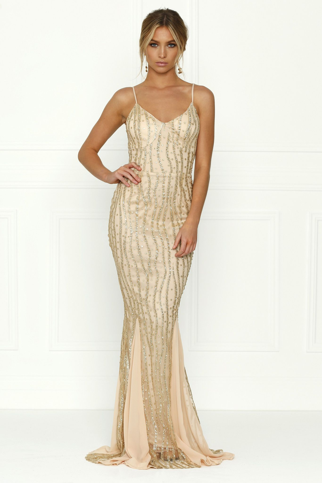 Honey Couture BRIELLE Gold Sheer Sequin w Sheer Insert Evening ...