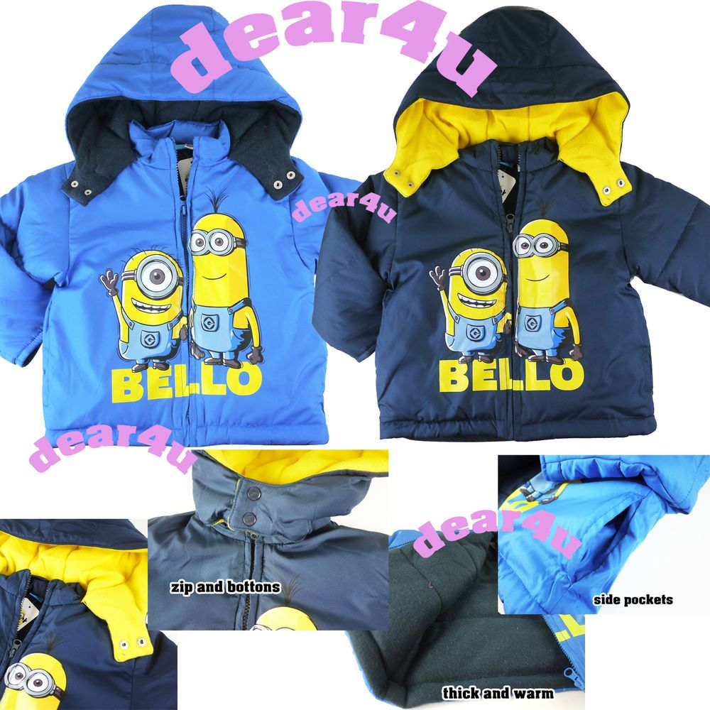 60425f247 Despicable Me Minion Boys kids winter coat thick jacket hoodie ...