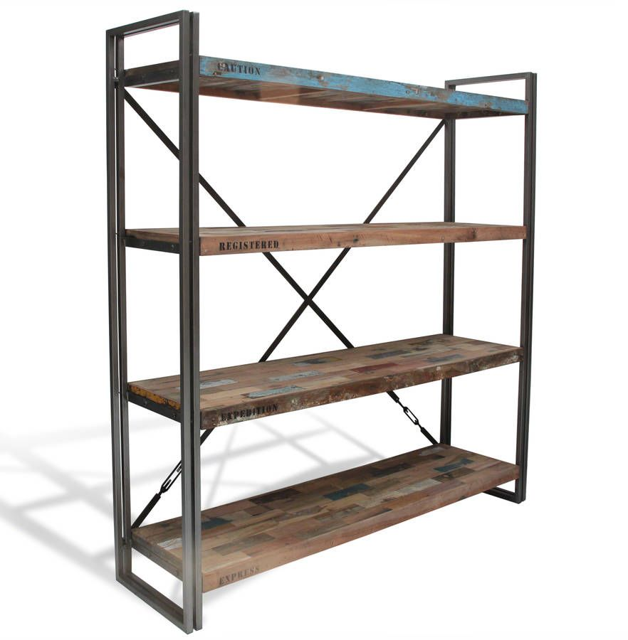 A cool wood and steel industrial bookcase that makes the perfect industrial shelvesEach item ordered will be different to the other and will have it's own unique patina that will develop over time and slowly become more a part of your home and life.This steel industrial bookcase is made from rustic wood and steel and is a bang in trend industrial shelves set This item has 2 drawers and 2 doors. This range is simply the coolest furniture ever and is made from reclaimed boat wood, this means…