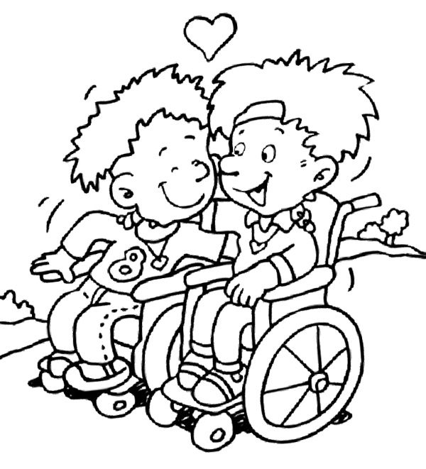 Two Children With Disabilities Coloring Page Doodle People