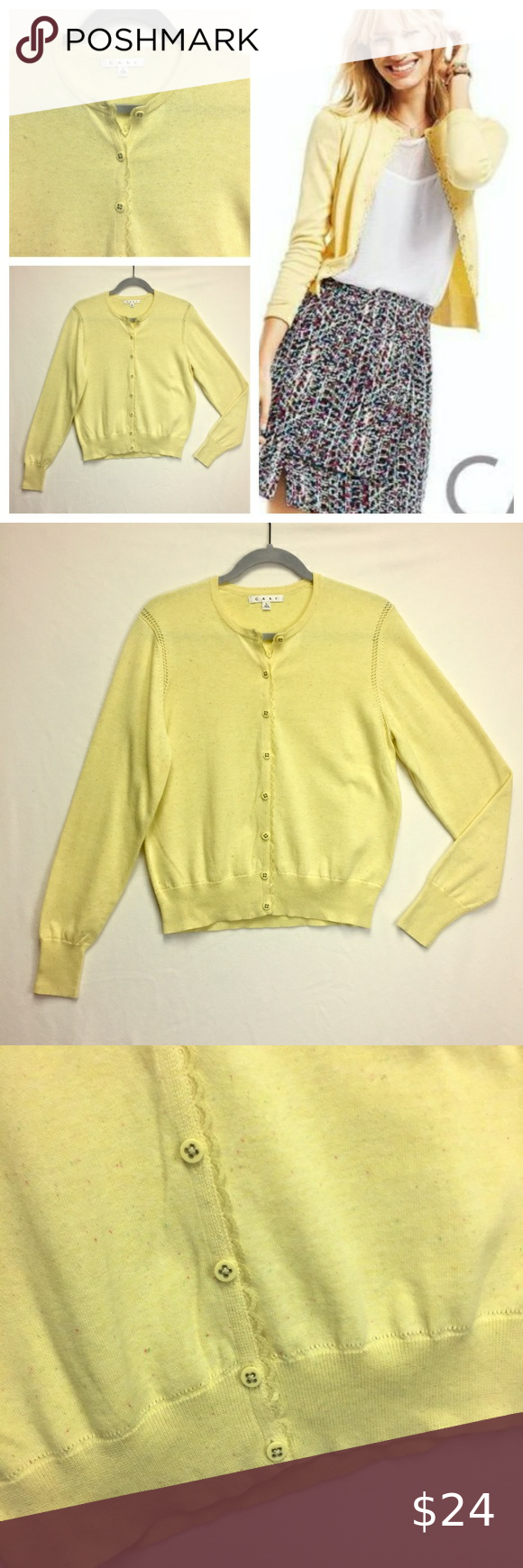 Cabi Butter Yellow Scallop Trim Cardigan Spring L Confetti Sprinkled Buttery Yellow Cardigan Is Perfect For Spring In 2020 Yellow Cardigan Cardigan Sweaters For Women