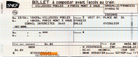 Train Tickets To France Billet De Train Billet Intercites