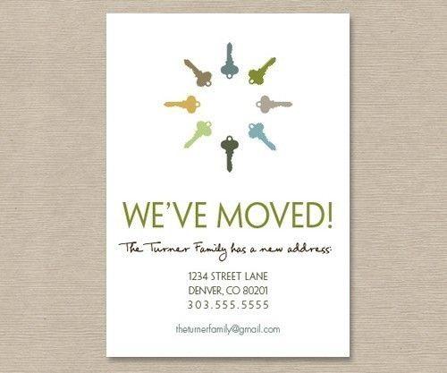 Printable Moving Announcement Postcard • Keys • Change of ...