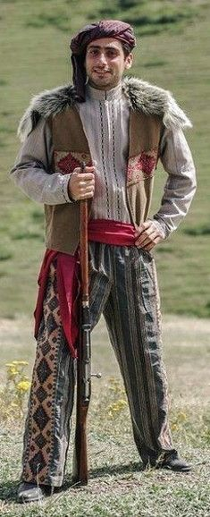 Traditional Armenian costume from the region of Muş (to the west of Lake Van).  Clothing style: late 19th century.  This is a recent workshop-made copy, as worn by folk dance groups.