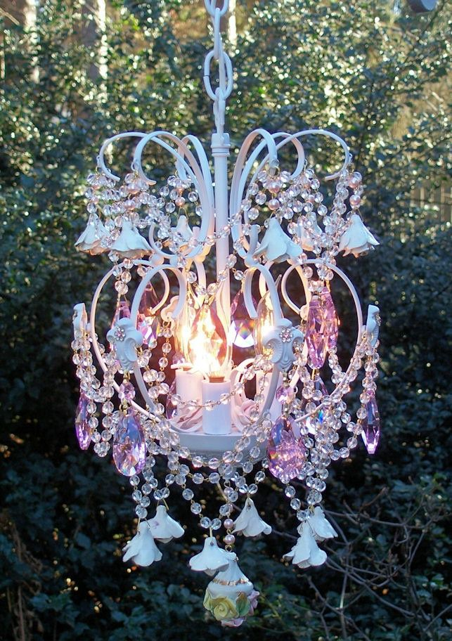 Image result for garden art chandelier garden pinterest garden romantic roses and crystals jeweled vintage petite chandelier via etsy aloadofball Images