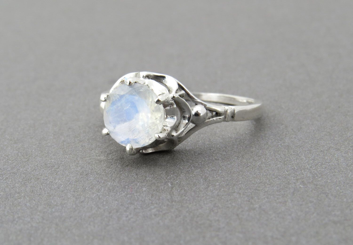 Vintage Style Moonstone Ring, Moonstone Engagement Ring