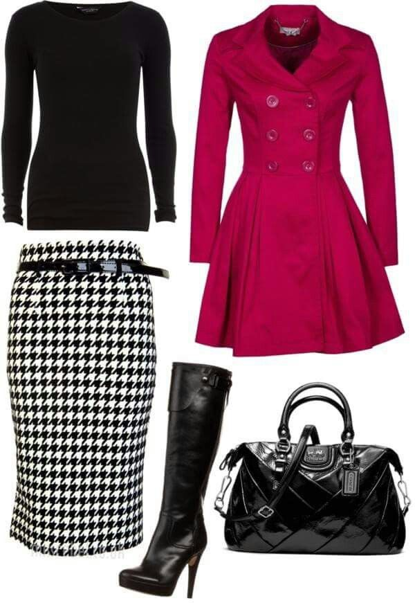 Lindo abrigo, si no te gusta la falda lapiz, puedes usar un legging o un pantalon recto.