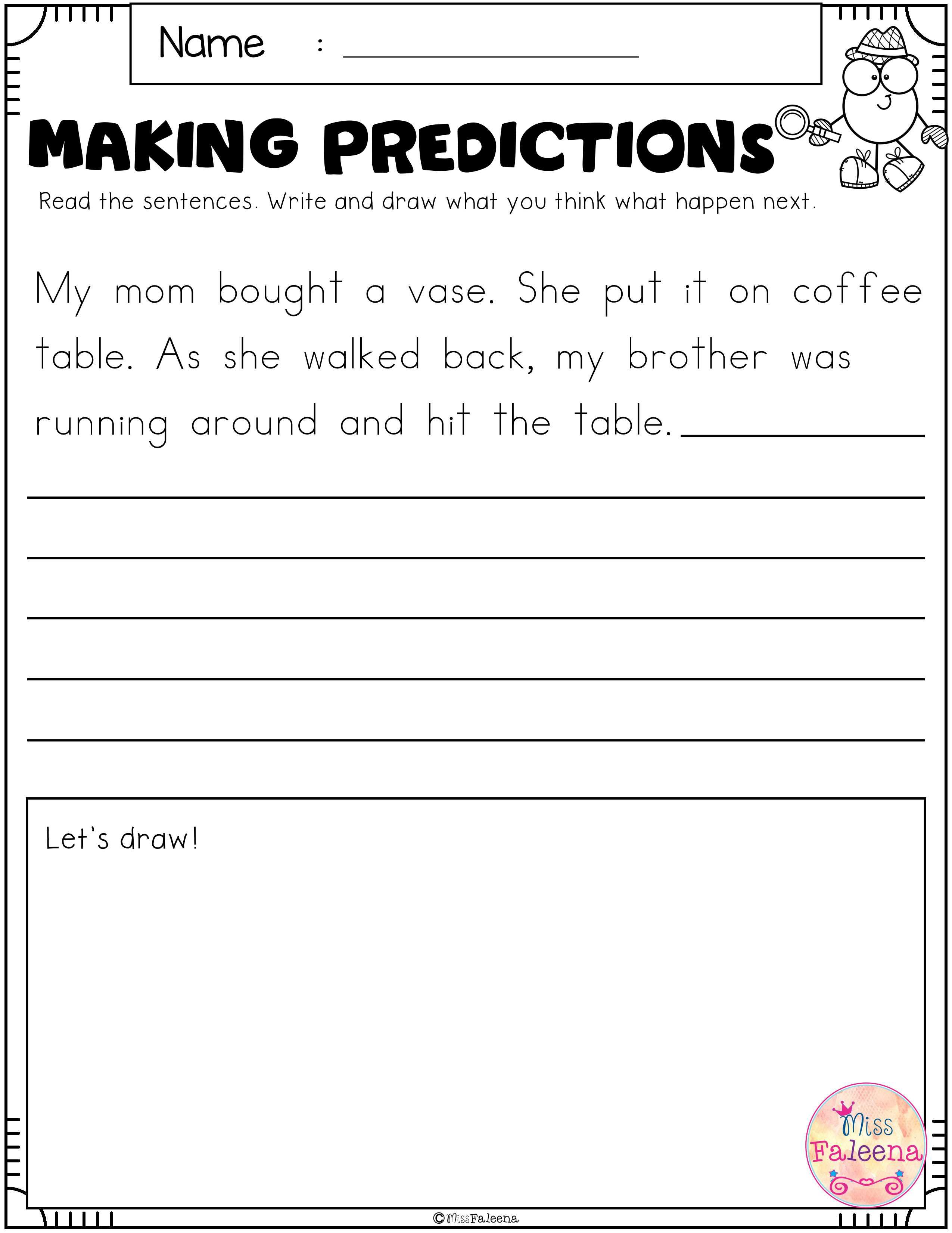 Free Making Predictions Contains 8 Pages Of Making Prediction Worksheets This Product Is Suitable For First Through Third Grade Students After Reading The Sen [ 3300 x 2550 Pixel ]