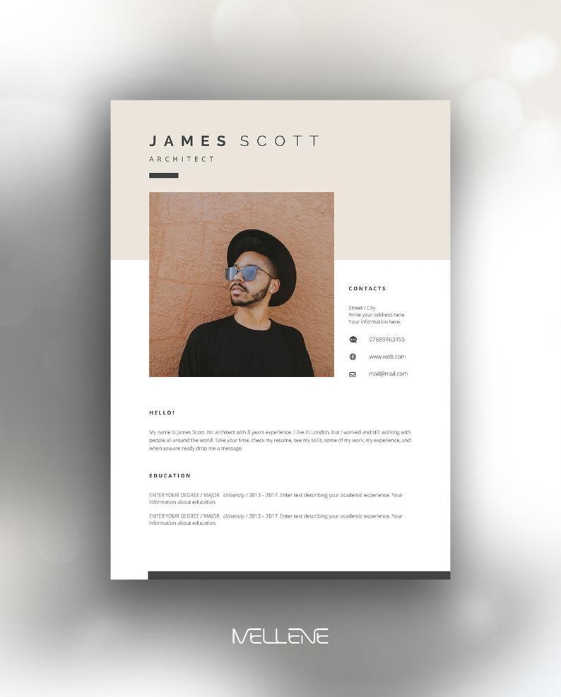 Resume Template 5 Page Cv Template Cover Letter Instant Download For Ms Word James Lebenslauf Bewerbung Design Lebenslaufvorlage