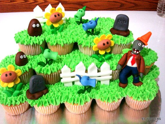 12 Plants vs Zombies Fondant Toppers by ECTOPPERS on Etsy party
