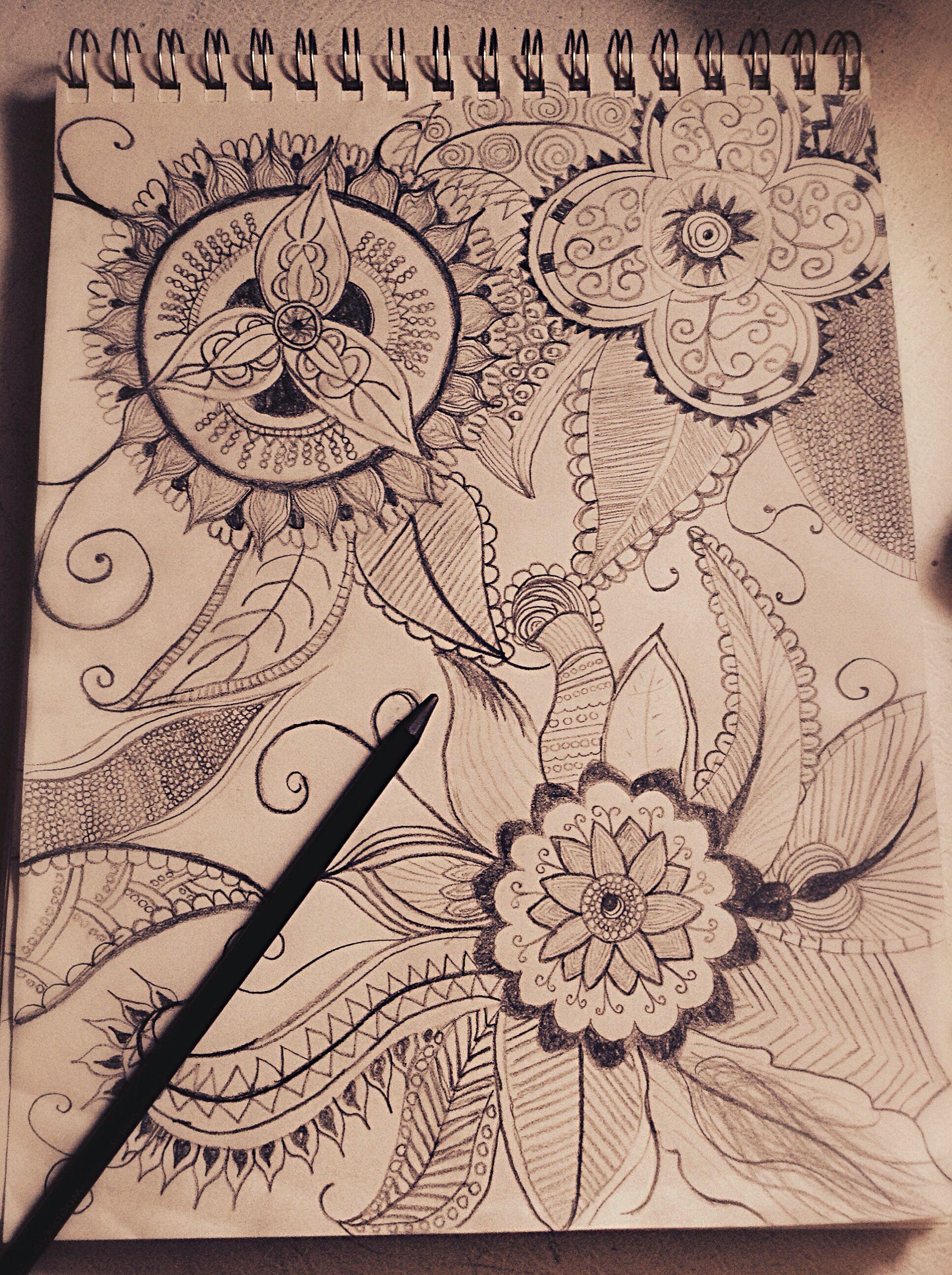 Aztec Flower Pattern Creativity Point. Drawings