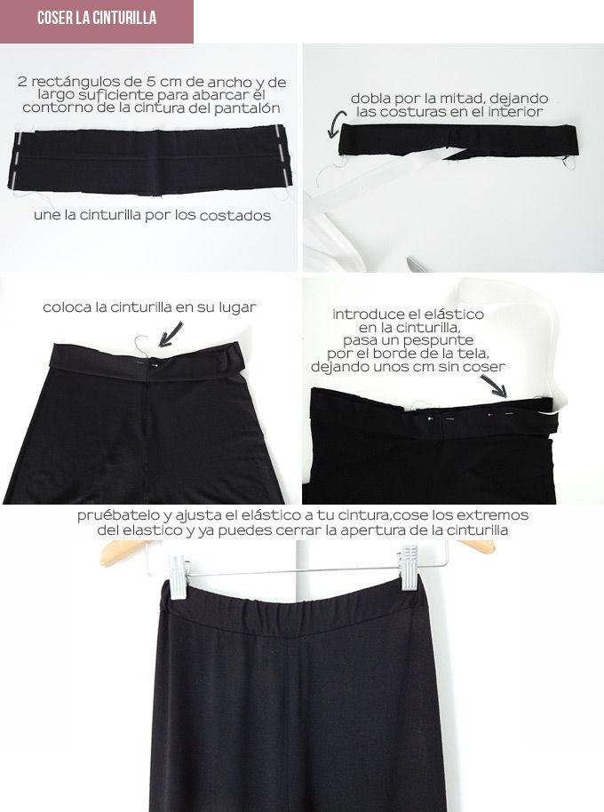 hacer-pretina-pantalón-palazzo | moldes | Pantalones, Pantalones ...