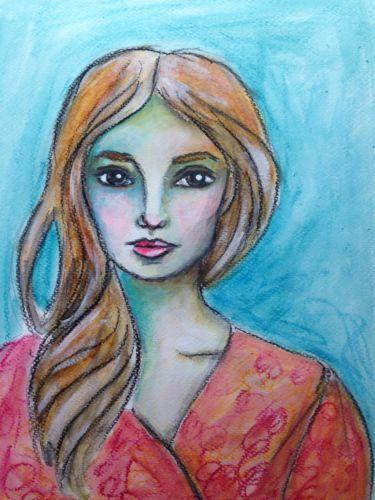 #painting #portrait #woman #girl #art Acrylic-Painting-of-a-Beautiful-Woman-18-x-24cm-Original-Art